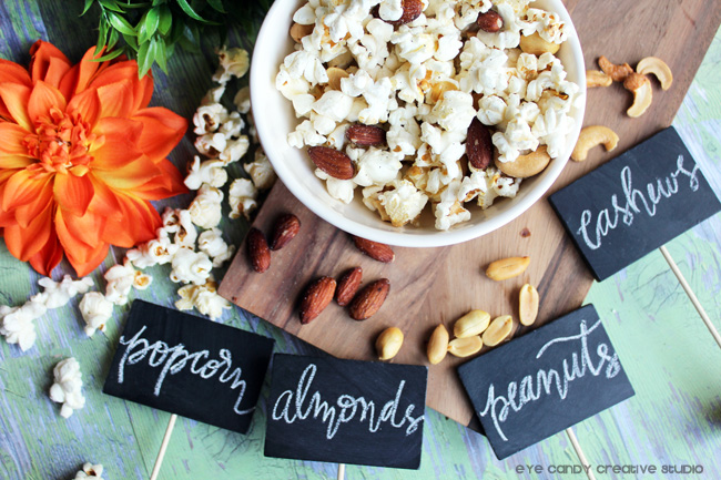 hand lettering, popcorn, almonds, peanuts, cashews, fall snacking