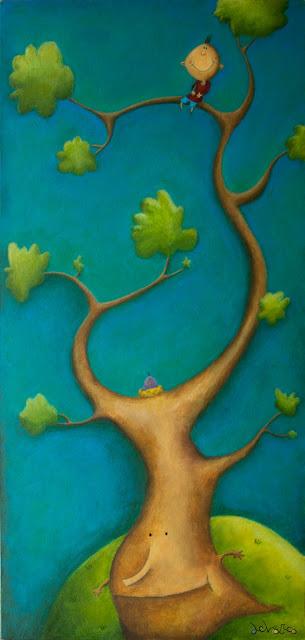 """""""niño arbol-ilustración-ana sáez del arco-boy in the tree-illustration"""""""