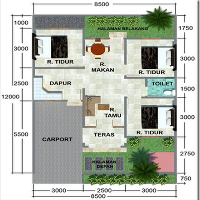 Rumah dengan tipe 70 lengkap dengan 3 kamar dan carport