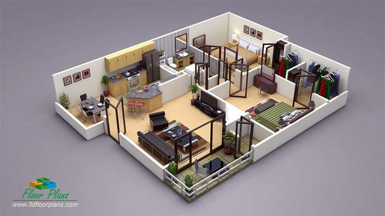 13 awesome 3d house plan ideas that give a stylish new look to your home. Black Bedroom Furniture Sets. Home Design Ideas