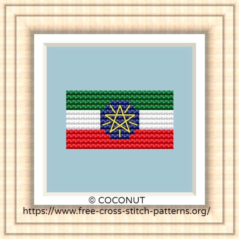 NATIONAL FLAG OF ETHIOPIA CROSS STITCH CHART