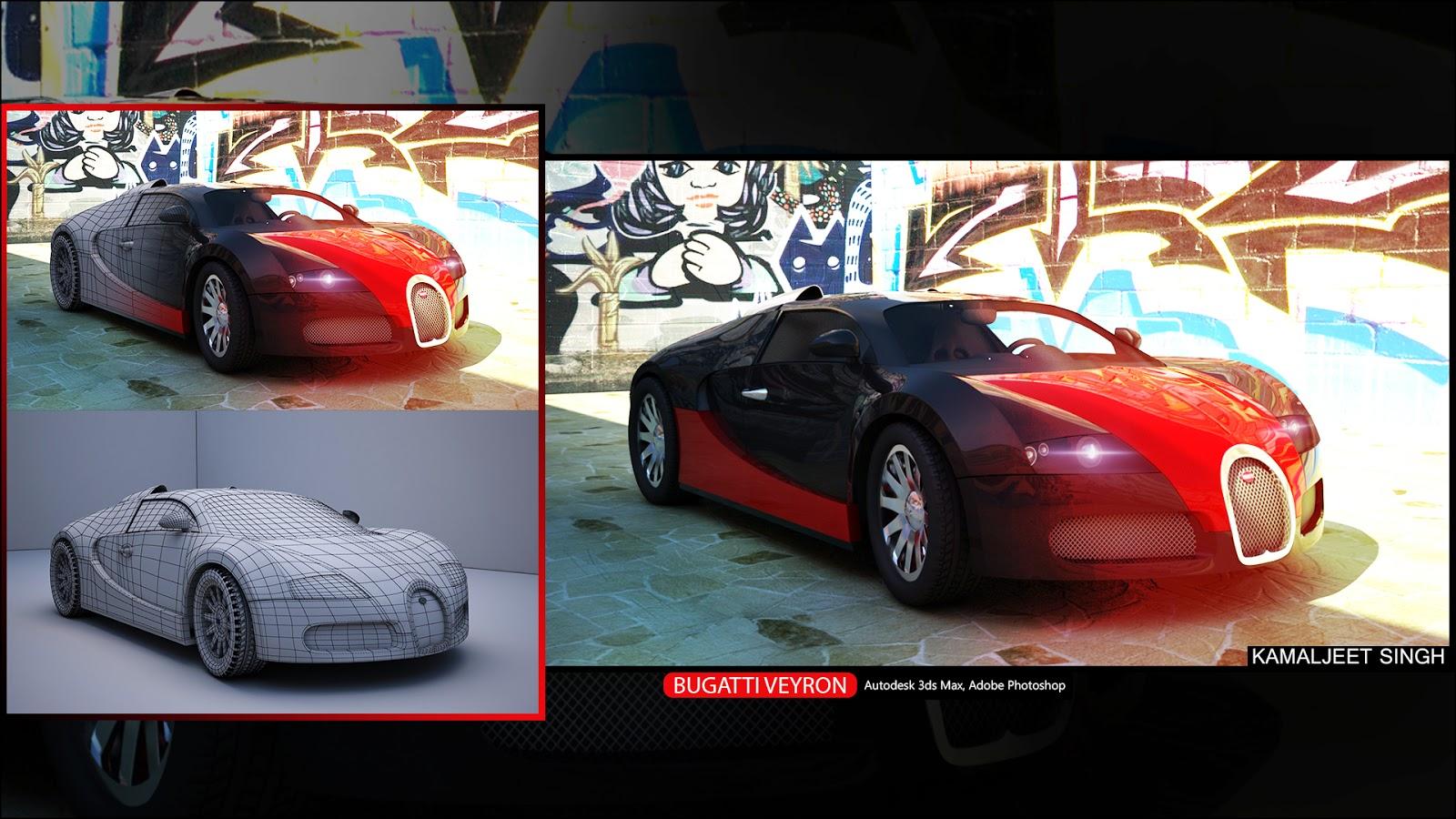 Bugatti Veyron 3d model in Autodesk 3ds Max & Adobe Photoshop