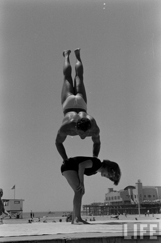 12 Year Old Strong Girl At Muscle Beach, 1954  Vintage -6266