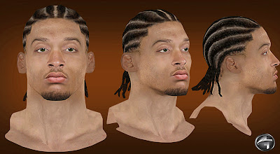 NBA 2K13 Michael Beasley Cyberface Cornrows Hair