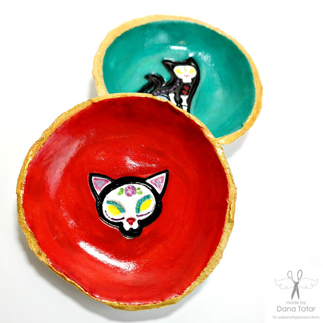 Los Animales Cat Stamped and Painted Clay Trinket Dish by Dana Tatar for Paper Wings Productions