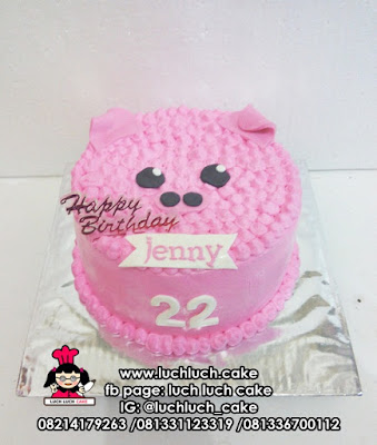 Kue Tart Kepala Babi Lucu Pink