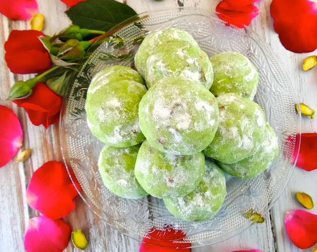snowball cookie pistachio rose cardamom recipe vegan christmas vegetarian eggless