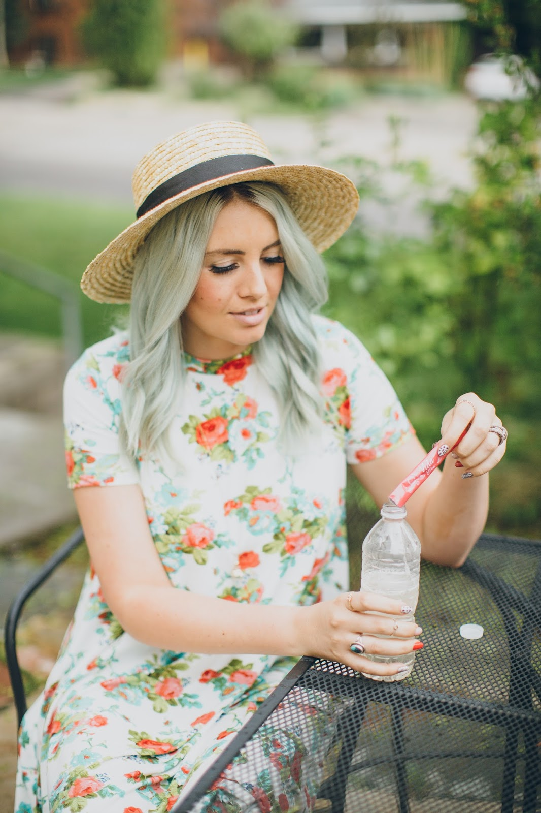 Floral Dress, Utah Fashion Blogger, Sun hat