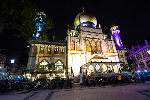 Quartiere arabo di notte-Moschea-Singapore