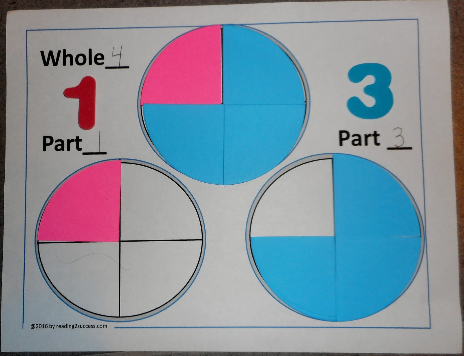 small resolution of using die cuts and the templates below students complete whole to parts papers we pretend that the parts represent different types of pie cherry and