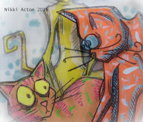 Thats Crafty Acrylic stack with Crazy Cats - Tim Holtz