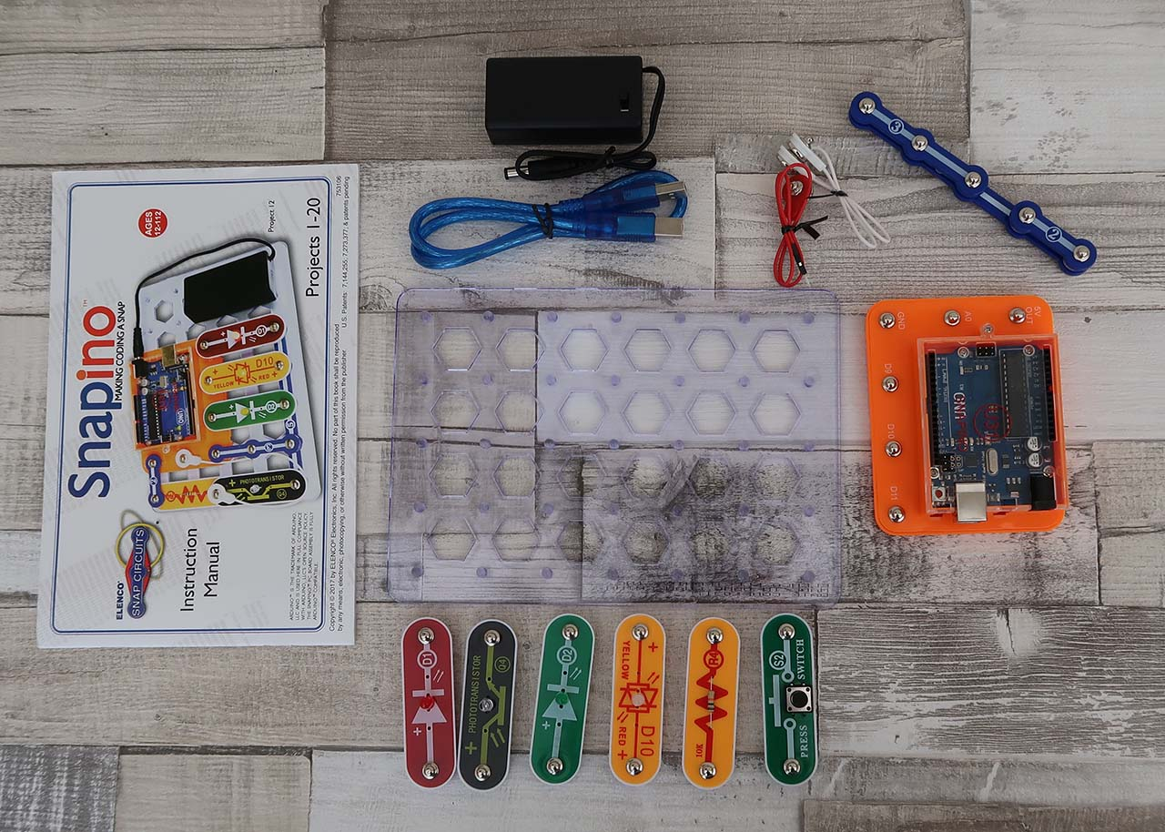 Snapino Snap Circuits Arduino Coding Introduction To The Electric Switch Using All Like Other Products Comes With An Instruction Manual It Includes 20 Projects Complete Kit Plus Lots Of Explanatory