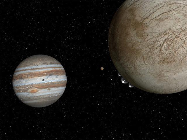 Ilustração artística das plumas de vapor de água em Europa, lua de Júpiter
