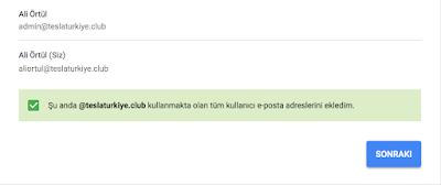 tüm kullanıcıların e posta adreslerini yükledim