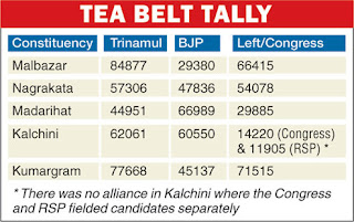 Dooars tea belt voted Trinamul & BJP
