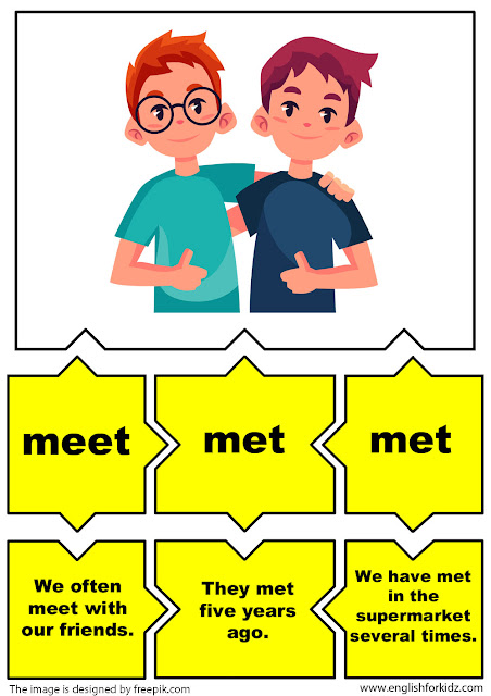 esl irregular verbs flashcards, verb meet