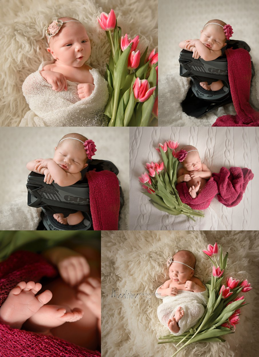 Newborn baby girl with dark pink tulips and wrap in DeKalb Sycamore IL