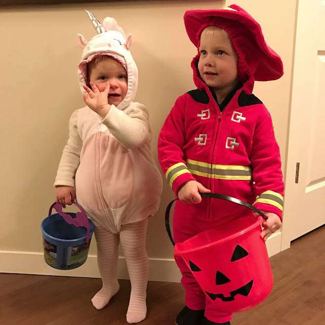 Fireman and Unicorn costumes for toddlers