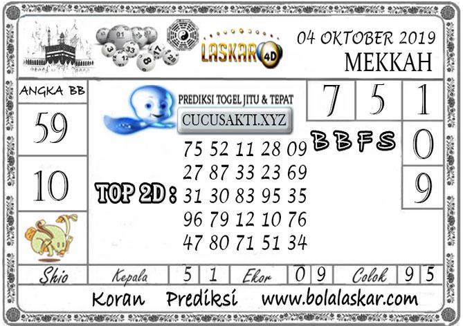 Prediksi Togel MEKKAH LASKAR4D 04 OKTOBER 2019