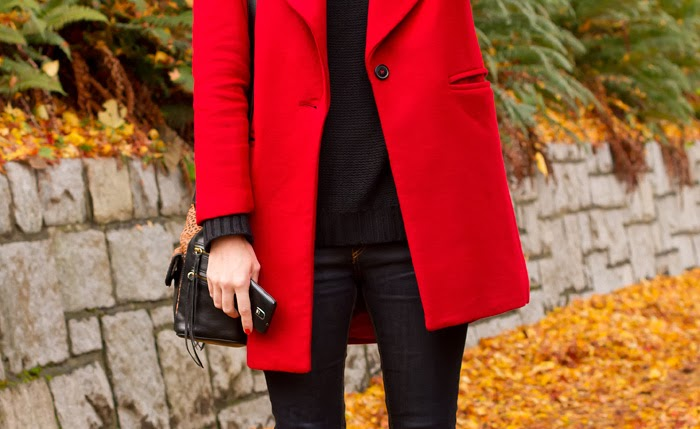 Vancouver Fashion Blogger, Alison Hutchinson, is wearing a red zara coat, black H&M turtleneck, dark blue Rag & Bone jeans, black high hell zara booties, and a recbecca minkoff loepard print bucket bag
