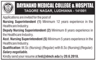 DMC Hospital Ludhiana Recruitment 2018 – 08 Nursing Superintendent Posts