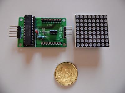 Fig. 6 - Modulo con una matrice 8x8 e l'integrato MAX7219 - Foto di Paolo Luongo