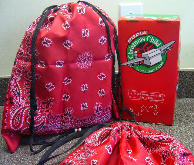 Bandana tote bags for Operation Christmas Child GO shoeboxes.
