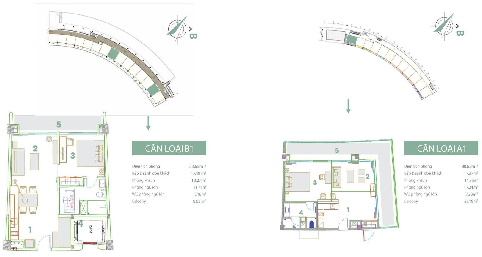 Mặt bằng thiết kế căn hộ loại B1 và A1 FLC Luxury Hotel Sầm Sơn