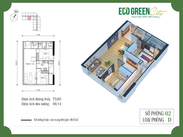 Thiết kế căn hộ 02 tòa CT2 Eco green city