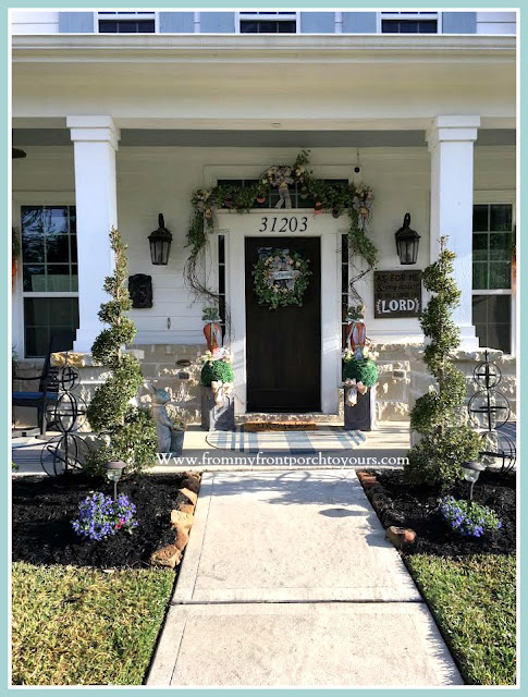 Spring Easter Front Porch-Curb Appeal-Topiaries-Bunnies-From My Front Porch To Yours