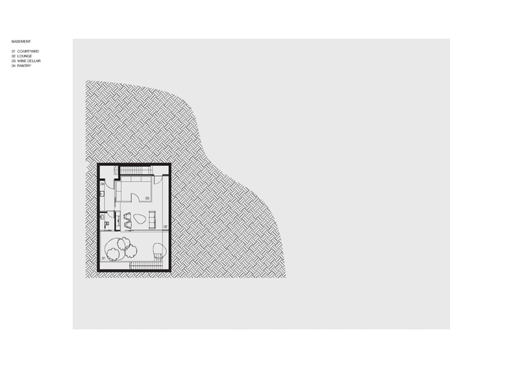 Site plan of The Wall House by FARM Architects