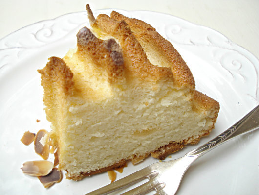 a slice of white cake with marzipan
