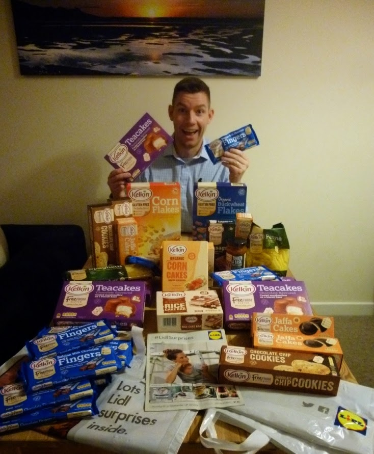 Coeliac Richard Gottfried with his haul of Kelkin gluten free food from Lidl