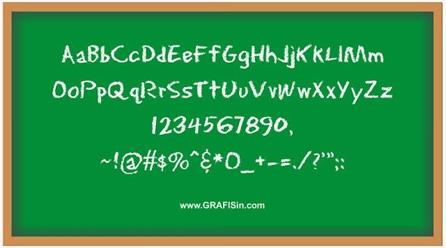 Papan Tulis dengan Contoh Font Eraser