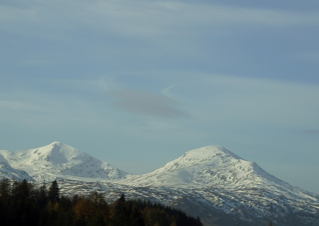 Snow capped mountains on the way to Crianlarich