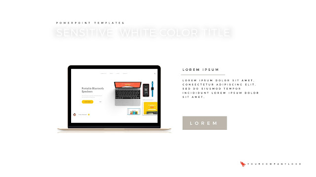 Macbook Mockup of Premium PowerPoint Template with Whit Title