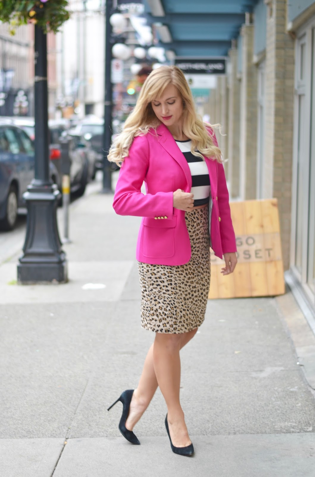 office outfit leopard and stripes
