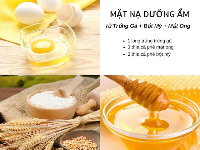 mặt nạ trứng gà, mật ong và bột mì
