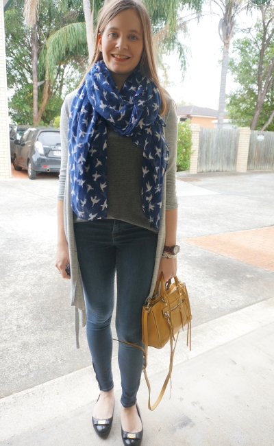 spring coffee date layered OOTD SAHM Style navy scarf grey tee skinny jeans yellow bag | AwayFromBlue