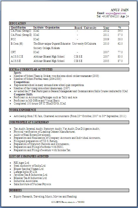 resume for equity
