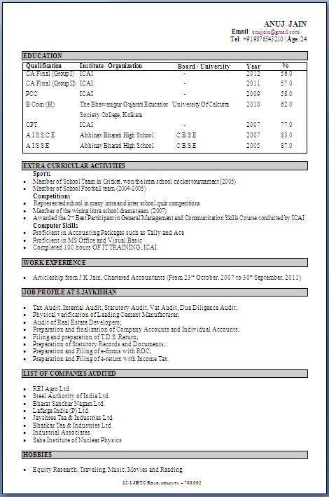 CA Fresher CV Format