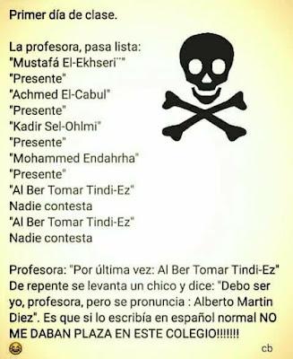 Al Ber Tomar Tindi-Ez, Alberto Martín Díez. Si lo escribía en español normal no me daban plaza en este colegio.