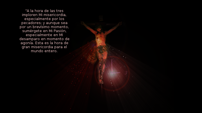 jesus en la cruz con relog y rayos de misericordia