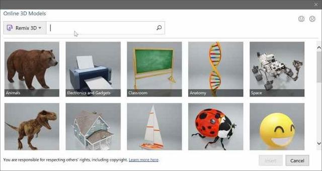 كيفية إدراج نماذج 3D في وثائق الورد Word والبوربوينت PowerPoint