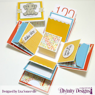 North Coast Creations Stamps & Dies: Bundle of Love, Divinity Designs Paper Collection: Birthday Brights, Custom Dies: Treat Tags, Pierced Circles, Bitty Borders, Long & Lean Letters, Long & Lean Numbers, Explosion Box, Explosion Box Pockets & Layers, Mini Box, Embossing Folder: Cross Stitch