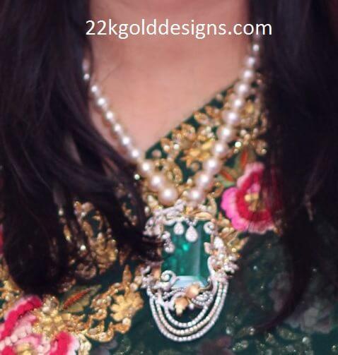 Big Emerald Diamond Pendant