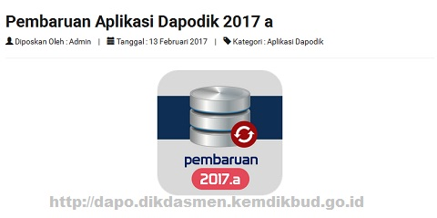 Pembaruan Aplikasi Dapodik 2017 a Bagi Jenjang Pendidikan SD SMP SMA SMK SLB