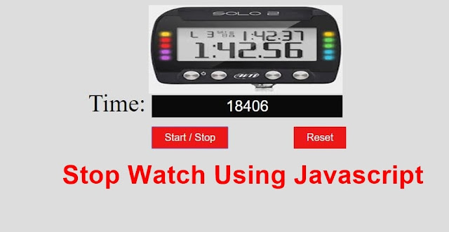 stopwatch using javascript with start pause and reset button