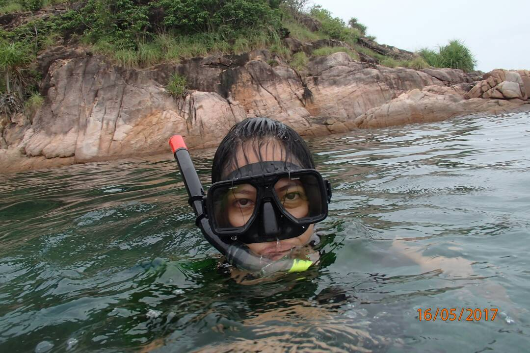 Girl with snorkeling gear