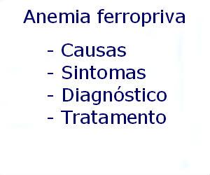 Anemia ferropriva causas sintomas diagnóstico tratamento prevenção riscos complicações